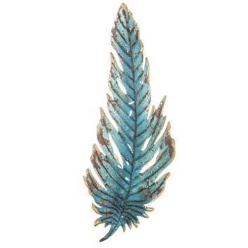 Turquoise Feather Metal Wall Decor | Hobby Lobby | 1299593