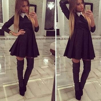 Streetstyle  Casual Black Patchwork White Draped Turndown Collar Long Sleeve Mini Dress