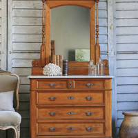 Antique 1920s Old European Beechwood Commode with Marble Top - $795 - The Bella Cottage