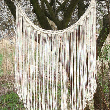 Boho Curtain, macrame curtain, macrame wall hanging, gypsy curtain, hippie decor, C3