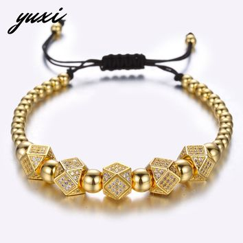 YUXI Geometric Faced Crystal Rivets Charms Bracelets For Women Men Copper Beaded Bracelets Male Accessories Pulseira Masculina