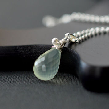 Prehnite Necklace Sterling Silver / Mint Green Necklace / Prehnite Briolette Necklace / Green Gemstone Pendant