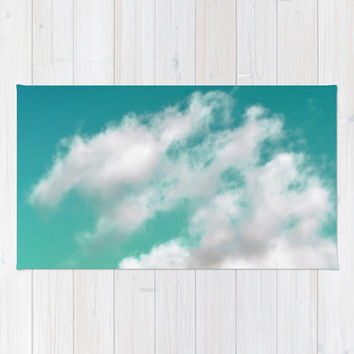 Mint Sky 3 - Beach Towel, Boho Chic Beach Tote Accessory, Ombre Print Pattern Style Large Sized Beach Blanket Throw Accent. In 36x72 Inches