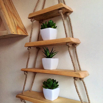 Hanging triangle shelf natural modern finish hemp rope shelf