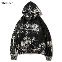 Thrasher Autumn And Winter Fashion New Letter Print Women Men Hooded Long Sleeve Sweater
