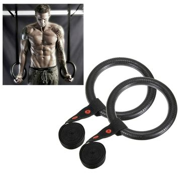 2pcs Adjustable Portable Olympic Shoulder Muscle Strength Training Rings Gym Rings Pull Up Chinning Upside Down Workout Exercise