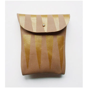 POUCH // mushroom leather gold tribal pattern