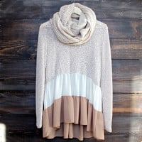 ruffle me up sweater tunic , taupe