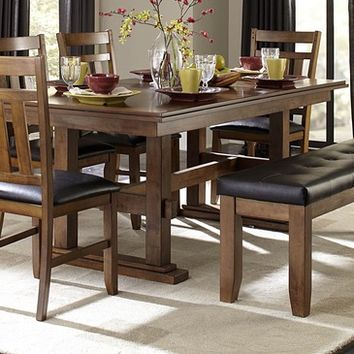 Homelegance Kirtland Double Pedestal Dining Table in Warm Oak