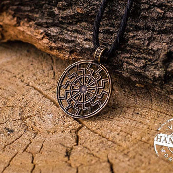 Black Sun Symbol Necklace Bronze Amulet Pendant Pagan Jewelry