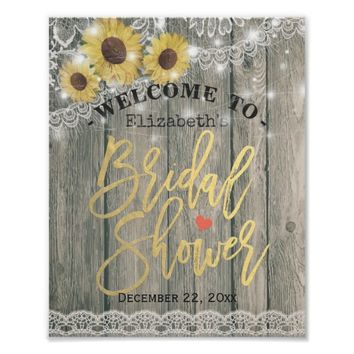 Rustic Wood Sunflowers Lace Bridal Shower Welcome Poster