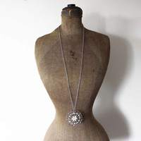 Long Silver Chain Necklace with Large Silver and White Pendant - Silver and White Flower Pendant on Long Silver Chain