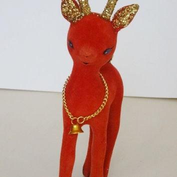 Vintage Red Flocked Reindeer & Gold Glitter Antlers and Tail