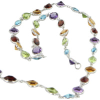 "Rainbow Gemstone Opera Length 32"" Vintage Necklace 18 Karat White Gold Estate"