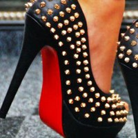 Studded Spike Platform Heel with Rivets Peep Toe from svuk