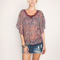 FULL TILT Crochet Neck Womens Poncho