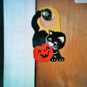 cat and pumpkin doorknob hanger needlepoint plastic canvas