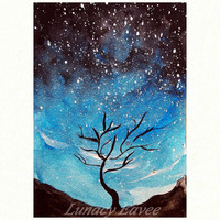 Nature Art - Tree - Outer Space-Wall Art -Wall Decor -Astronomy Print - Gift For Nerds - 5 x 7 - 8 x 10 - Rock Art - Landscape Print - Star