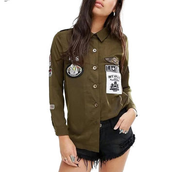 Women cute letters badges patch long shirts long sleeve single breasted blouses casual loose outwear tops blusas LT1158