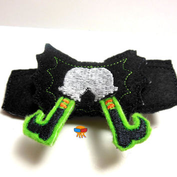 Splat!! Witch Halloween flying accident inspired 3D felt bow felt clippie physical item made to order