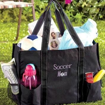 Sports Mom Utility Tote Bag Organizing Soccer Games for Child with Merchandise Elastic