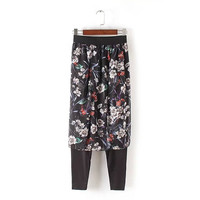 Summer Women's Fashion Korean Stylish Floral Slim Dress Pants [4919984260]