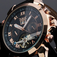 JARAGAR Luxury Auto Mechanical Watches 4 Hands Date Tourbillon Mens Wrist Watch Free Ship Gift Box = 1747743172