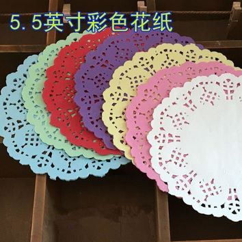 5.5inch colorful Paper Doilies hollowed lace table mats for baking and cake accessorieslace placemats 100pcs/lot