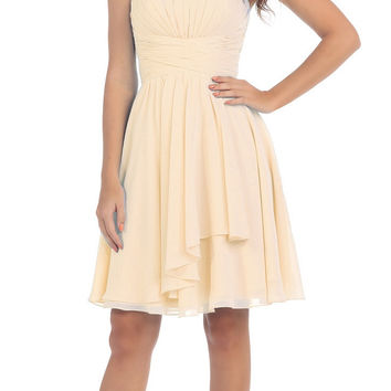 Starbox USA S6074 Sweetheart Pleated Bust Drape Skirt Champagne Above-Knee Dress Strapless