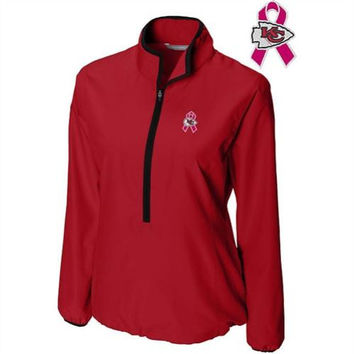 Cutter & Buck Kansas City Chiefs Women's Breast Cancer Awareness WeatherTec Postgame Half-Zip Jacket