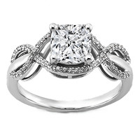 Engagement Ring - Petite Infinity Halo Cushion Diamond Engagement ring in 14K White Gold - ES1264CU