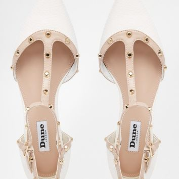 Dune Heti White Stud Pointed Flat Shoes