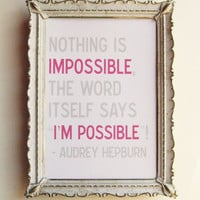Nothing is Impossible 5 x 7 Audrey Hepburn by 3LambsIllustration
