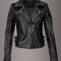 Hellrider Studded Black Faux Leather Moto Jacket