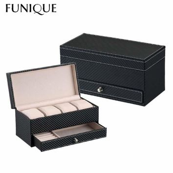 FUNIQUE Fashion Women's Jewelry Ring Necklace Box Leather Four Watch Storage Box Men's Business Drawer Four Leather Watch Box
