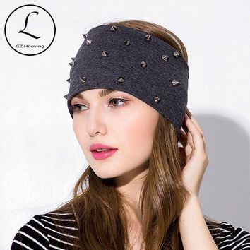 GZHILOVINGL 2018 Women Solid Wide Turban Headband Rivet Bandanas Elastic Cotton Hair Bands Gum Hair For Girls Hair Accessories