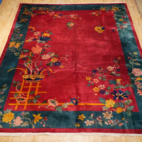 9' x 12' Time-Honored Chinese Art Deco Antique Chinese Fine Rug Hand Knotted
