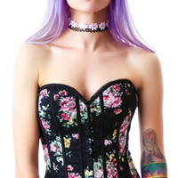 Oh Yes Blooming Rose Corset Black