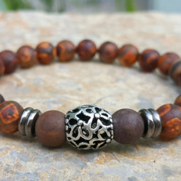 Dzi Tibetan Agate Mala Beads, Mens Wrist Mala Bracelet, Yoga Boho Jewelry, Buddhist Prayer Beads, Father's Day Gift, Christmas Gift for Him