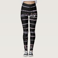 Line Art - the scratch black canvas fabric pattern Leggings