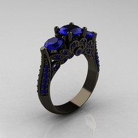 Classic 14K Black Gold Three Stone Blue Sapphire Solitaire Ring R200-14KBGBS