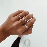 Moon and Crystal 5-piece Ring Set