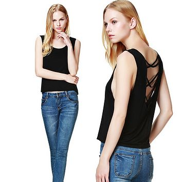 Fashion  Solid Color Hollow Tassel Sleeveless Backless Short Vest Tops
