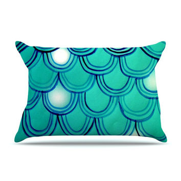 "Theresa Giolzetti ""Mermaid Tail"" Teal Blue Pillow Case"