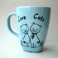Hand Paint Love Cats Blue Mug,  gift for cat lovers,  pet lovers, unisex gift under 25