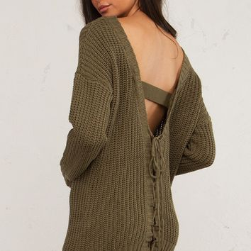 Lace Up Knit Sweater For Fall
