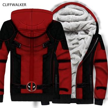 DropShipping Superhero Deadpool 3D Print Hoodie Autumn Winter Hip Hop Thicken Sweatshirts Zipper Flannel Hooded Coat US Size