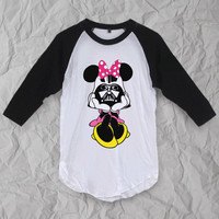 Minnie vader,starwars t shirt ,disney t shirt , baseball shirt ,3/4 Sleeve ,Fashion clothing,T-shirt unisex S M