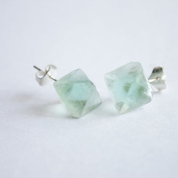 Green Rainbow Fluorite Octahedron raw stud eaarrings, simple, natural, gem,  crystal unique, gradual change color, chunk