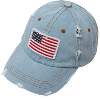 Distressed American Flag Light Blue Cap